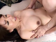 She's a beautiful Japanese babe and behaves like a sex doll with her man. She will do everything to make him sexually satisfied, including receiving all of his jizz in her pussy. After she rode him like a whore in reverse cowgirl, the man laid her on her back, drilled her pussy some more and then filled her up!