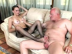 Masturbate watching this brunette, with natural boobs wearing sexy lingerie and fishnet pantihose, while she gets hers pussy licked by a nasty man.
