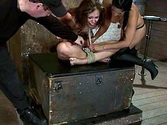 This juicy and slender siren Audrey Rose is going to live through some action! She gets tied up and seems like nothings is helping her to evade this BDSM!