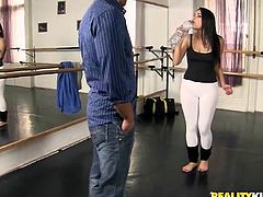 Stunning Italian girl with juicy tits has a ballet training. After that she has wild threesome some. She gets fucked in her vagina and ass at the same time.