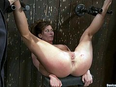Hot bitch Ariel X lets her lesbian GFs Isis Love and Madison Young put her into irons in a basement and play with her holes. The sluts please Ariel with fisting and then rip her holes apart with a fucking machine.
