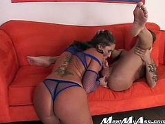 Insatiable sex goddess Flower Tucci loves to fuck! Horny stud bends her over the couch, grabs her by her hair and starts pounding her hard like never before.