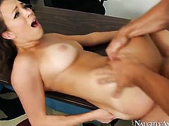 Johnny Castle makes his erect ram rod disappear in irresistibly hot Lily Loves bush
