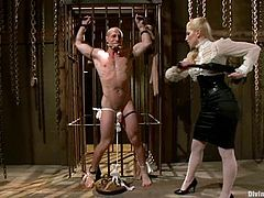 Ashley Fires and Roman Rivers are having BDSM fun in a basement. The blonde mistress ties the stud up and hits his ass with a stick and then tortures the guy and fucks him in cowgirl position.