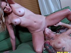 Press play and watch these two sexy pornstars, with nice asses and natural tits, masturbating one another. These bitches like it rough!