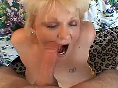 Busty mature blonde Amanda is having fun with some dude indoors. She shows her cock-sucking and titfucking skills to the guy and also massages his wang with her hands and big natural boobs.