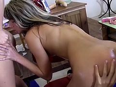 Three very sexy lesbian girls get down and dirty in the classroom. They lick each other's pussies and fist each other real deep in the ass. They go so deep that fists and arms are almost all the way in.