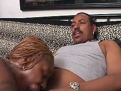 Curvy black mamma Cleo has a big naughty butt and even naughtier lips. She wears a slutty costume that gives this dude an erection. Before putting her gorgeous booty on top of him, Cleo solves the guy with a mean head. Yeah, look at her butt as she stays bent over sucking his dick, will she take it in that ass too?