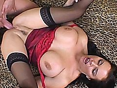 Sexy brunette milf with huge natural tits get anal and facial.