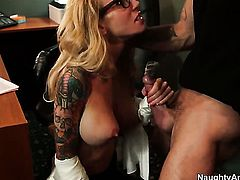 Sarah Jessie has a nice time doing it with hard cocked dude Alan Stafford