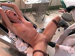 Hot blonde dominatrix Maitresse Madeline is playing dirty games with a girl called Mason in a hospital ward. Mason gets her cunt and ass toyed and undergoes tortures and humiliation.