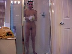 Solo scene with horny slut with small tits shaving her cunt and her legs under the shower, she prepares her body before she starts masturbate.