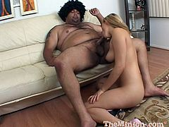 This kinky blonde hooks up with a fat guy and sucks his cock then lets him fuck her great tits before he cums in her mouth.