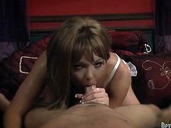 Tranny takes a shower and gives a blowjob in POV vid