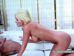 Slutty blonde lexi swallow gets banged and creamed