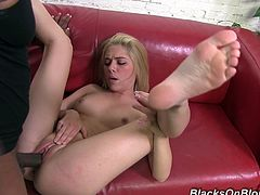 She is starving for his big black cock so she seduces him to get it. He fucked hard that sluts tight cunt and make her to swallow his load.