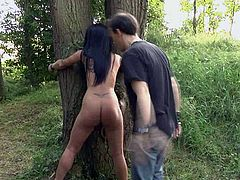 Well endowed dude fucks nude brunette chick without mercy deep in the forest. He penetrates deep her throat and makes her swallow cum dessert. Enjoy watching BDSM sex video produced by Subspace Land site.