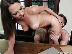 Oriental Lily Love opens her fuck box to take Bill Bailey s dick