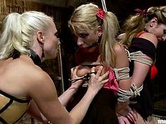 Kara Price allows Lorelei Lee and her dominant GF Felony to tie her up. The mistresses stuff Kara's ass with a hook and torture the chick before fucking her pussy with a toy.