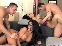 Check out this hot scene where you'll be able to bust a nut with this hot scene where these slutty ladies are nailed by big cocks in a foursome.