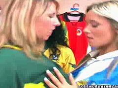 Courtesy of Teen Lesbian Land you can see two naughty blondes and a wild brunette going lesbo after a hot soccer game. There's nothing like some making out to make things more interesting.