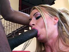 Guy with giant black pipe fuck with blonde