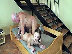 Grandpa seduces young babe for hot sex.