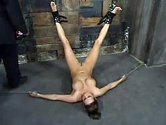 Tied up girl gets her toyed by the fucking machine. Later on she also gets her pussy toyed and fingered by her master.