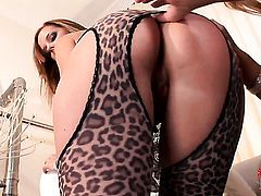 Redhead with big melons and bald pussy gives Carmen Geminis slit a lick