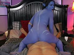 Misty Stone is all blue in Avatar porn parody. Sexy assed honey takes dick up her shaved pussy and rides it reverse. She gets her love tunnel filled with hard dick in this outstanding scene.