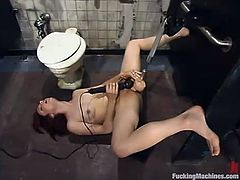 Nasty redhead girl Pinky Lee is playing dirty games in some strange place. Pinky demonstrates her nice pussy and then gets it ripped apart by a fucking machine.