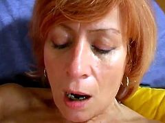 This naughty mature slut is rubs her hairy devastated vagina before she takes big dildo and starts screwing it deeply and roughly.