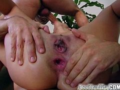Check out this brutal hardcore scene where this brunette's tight asshole gets stretched out out of the ordinary as she takes a ride on this guy's thick cock.