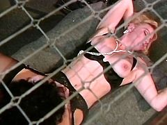 Three torrid prisoner chicks are insatiable lesbians. Curvy whores lick each other's hairy pussies and brutally fuck in all possible positions using strapons.