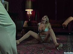 Sexy blonde girl with big boobs sucks big dick and gets tied up. Later on she gets her hot pussy toyed and fucked.