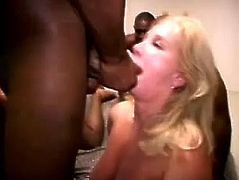 Black fuckers with long cocks are very horny and hey can not wait to make that nasty slut and her friend insane in this group sex fucking.