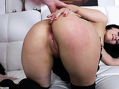 Brunette takes guys stiff rod deep down her throat