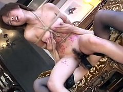 Watch this hot lesbian BDSM scene with these two horny Japanese chicks.One is hot mistress that is wearing lingerie and stocking and strap-on.See how this mean mistress torture her slave slut by hot wax and strap-on sex.