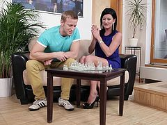 Pavel plays a game of chest with this brunette mom. He tries to teach her how to play better but the brunette just can't focus. Her mind is at cock and Pavel quits trying teaching her and gives the bitch what she craves for. The naughty now swallows his dick better then he plays chess!