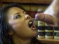 Incredible Asian slut tries to steal and she got caught by security. One dude punishes her hard with his big stiff cock and cums in her mouth.