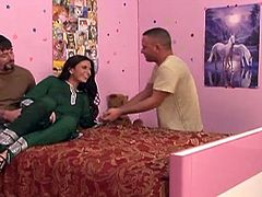 Pretty Indian slut Samali is on her bed all dressed up nicely and smiling at the thought of what will happen. The situation gets spicier and spicier for this curry loving slut as more men step in her room. Soon she founds herself surrounded by hard cocks and loves it. She sucks cock, gets her pussy licked and more!