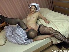 Watch the horny nurse Maki Hokujo being eaten out by her patient in this hardcore scene where she ends up riding him.