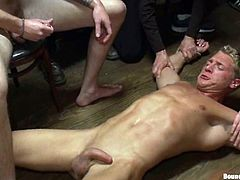Christian Wilde, Gavin Waters and other horny gays are having fun indoors. The blonde poofter allows his friends to tie him up and then gets his dick sucked, his ass licked and shows his cock-sucking talent afterwards.
