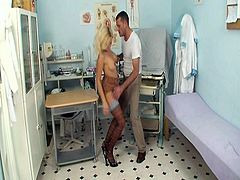 See this pervert gynecologist doctor with this sexy blonde babe, who came to his office to get her examined but this horny dude had many other stuff in his mind.Checkout that juicy tits and shaved cunt that he fucks hard till he cums on her.