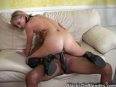 This naughty chick is so wet and she need his fat black dong to nail her moist pussy. She sucks his cock deeply and make it hard before he fucks her.