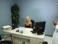 Although not among her responsibilities, this blonde receptionist decides to help a patient by giving him handjob, blowjob and her pussy.