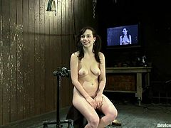 Nasty brunette girl Lindy Lane is getting her punishment in a basement. She gets tied up and tormented and then enjoys having a dildo in her juicy cunt.