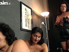 These filthy whores are up to no good. They are ready to get dirty with this guy and suck his cock until one of them bends over to get fucked. Look at them, fucking bitches that crave for cum. Which one of them will get a mouthful of jizz? Curious about that? Then stay with us and find out!