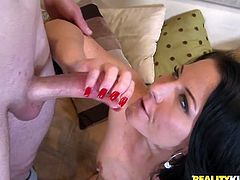 Press play to watch this long haired brunette, with natural boobs wearing a red thong, while she gets blasted hard after slurping this dude's big shaft!