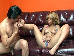 Sexy ebony gets naked for him to jerk off on her